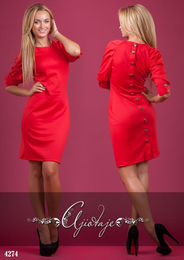 Красное платья с пуговицами сзади